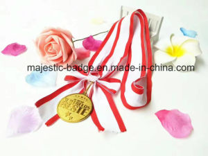 Medal Bowknot Lanyard Whit Red and White (L-Hz-001) pictures & photos