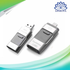 3 in 1 OTG USB Flash Drive USB3.0 Stick Pendrive External Storage Expansion Connector Flash Memory for iPhone Ios PC Android pictures & photos