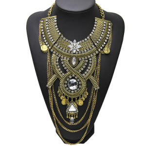 Fashion Multi Layer Metal Alloy Crystal Statement Choker Necklace Jewelry pictures & photos