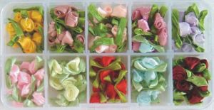 10 Colors Ribbon Roses in Clear Handy Box (OB01)