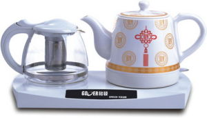 Ceramic Electric Kettle with Glass Teapot Set (HY-2089)