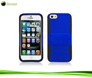 Astronoot Plus Hybrid Kickstand Case and Screen Protector for iPhone 5 (Black+ Blue)