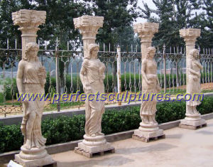 Stone Marble Roman Column Pillar with Roman Sculpture (QCM111) pictures & photos