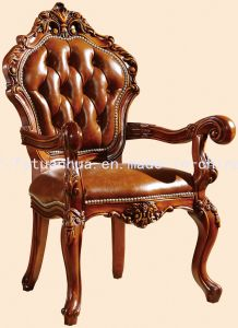 Antique Style Leather Wood Dining Chair (CT-306)
