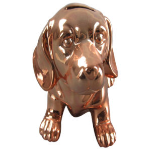 Plating Copper Dog Shape Ceramic Piggy Bank for Home Decoration pictures & photos