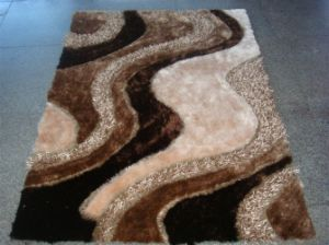 Handmade 100% Polyester Silk Shaggy Carpet Floor Mat