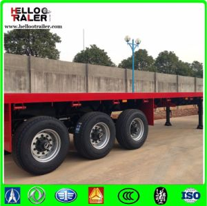 3 Axle 40FT Flatbed Semi Trailer/ Tri-Axle Container Trailer pictures & photos