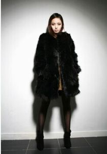 Black Long Fox Fur Coat Medium-Long Warm and Thick Overcoat Winter pictures & photos