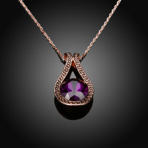 Popular Drop Shape Pendant Necklace Glass Pendant Rose Gold Plated Alloy Material pictures & photos