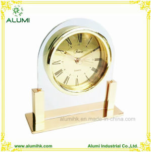 Hotel Glass Body with Chrome Base Silent Table Alarm Clock pictures & photos