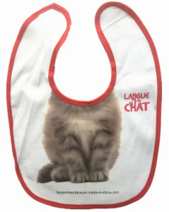 Factory OEM Produce Cute Cat Printed Cotton Baby Bib pictures & photos