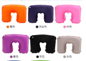 High Quality Flock Inflatable Neck Pillow pictures & photos