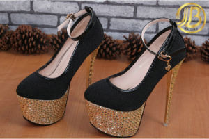 Fashion PU High Heel Platform Women Shoes with Rivets (NY01)