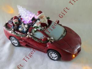Polyresin Santa Driving Car W/Tree W/LED Light and Music