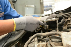 Nylon Knitted Safety Work Glove with Sandy Nitrile Dipping (N1552) pictures & photos