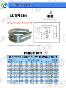 Standard G414 Wire Rope Thimble pictures & photos