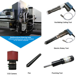 Automatic Leather Cutting Machine with Two Heads and Conveyor Belt pictures & photos