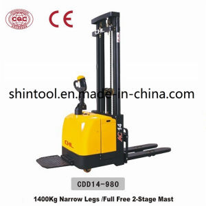 Electric Stacker Cdd14-980 with Full Free 2-Stage Mast pictures & photos