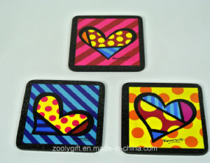 Heart Printed Cork Cup Coasters Pad pictures & photos