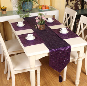 Sequin Embroidery Table Runner Embroidery Decorative Table Flag (JTR-42) pictures & photos