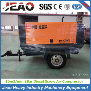 330cfm 8bar High Quality Trailer Mounted Diesel Screw Air Compressor pictures & photos