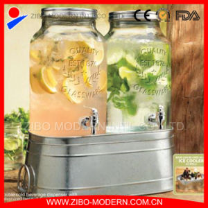 Wholesale Glass Dispenser Cylinder Glass Drink Dispenser with Ice Bucket pictures & photos