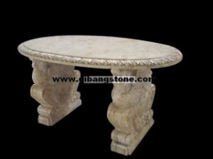 Garden Stone Table, Yellow Carved Stone Table, Park Stone (005)