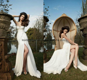 Strapless Bridal Dresses Front Split Chiffon Wedding Evening Gowns Z1038 pictures & photos
