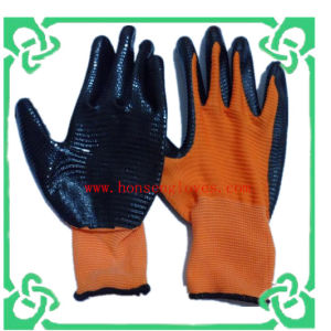 Nitrile Cated Polyester Liner Gloves of Work Glove