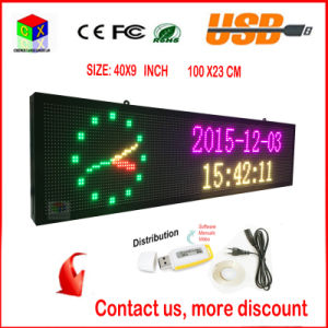 40X9 Inch Full-Color RGB LED Sign Wireless and USB Programmable Rolling Information P6 Indoor LED Display Screen pictures & photos
