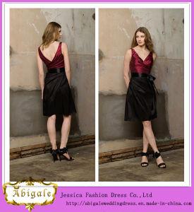 2014 New Fashion High Quality Simple Knee Length V Neck V Back Taffeta Black and Red Evening Dress Bridesmaid Dress (MN1367)