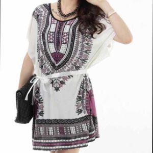 Fashion Big Size Printed Ladies Dress (LD-026)