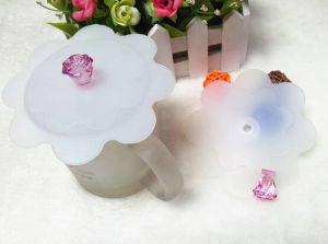 Hot Selling Eco-Friendly Flower Shape Silicone Cup Lid as Shown on TV pictures & photos