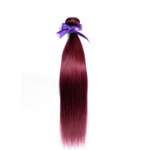 99j Peruvian 100% Human Hair Weft Burgundy 10-26 Inches pictures & photos