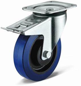 Heavy Duty Swivel with Total Brake Elastic Rubber Wheel Caster
