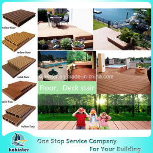Solid WPC Co-Extruding Embossing Decking WPC Crack-Resistant Decking Composite Deck pictures & photos