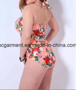 Sweet Large Size Printed Swimsuit for Women, Plus-Size One-Piece Swimming Wear pictures & photos