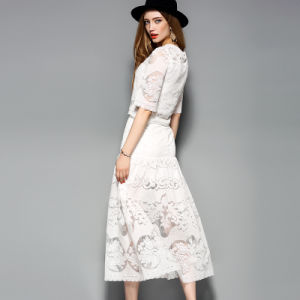 Hollow Lace Top and Skirt Set Women Dress pictures & photos