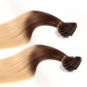 "Brazilian Virgin Hair Straight Clip in Human Hair Extensions 100g/Set 10PCS 14-24"" Natural Black Human Hair Clip Ins Extensions pictures & photos"
