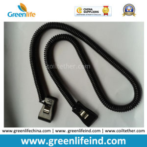 China Factory Supply Solid Black Long Spiral Coiled Lanyard Retainer