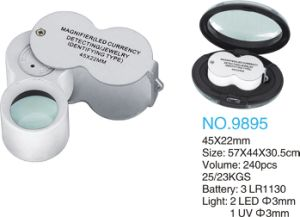 45X22mm Magnifier with LED Light and UV Lamp with Currency Detecting pictures & photos