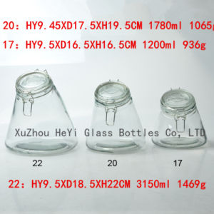 Glass Food Jar Glass Seal Jar 650ml with Glass Lid pictures & photos