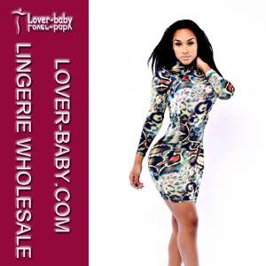 Woman Print Long Sleeve Bodycon Large Dress (L27671) pictures & photos