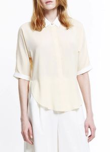 High Quality Stand Collar Short Sleeve Chiffon Women Blouse pictures & photos