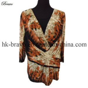 Ladies V Neck 3/4 Sleeve Polyester Knitted Printing T-Shirt (BR002)