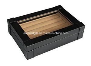 Black Leatherette Cufflink Ring Storage Case Organizer Men′s Jewelry Box pictures & photos