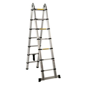 High Quality Aluminum Double Telescopic Ladder with Hinge pictures & photos