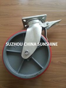 Iron PU Heavy Duty Scaffold Caster Wheel with Brake pictures & photos