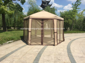 1.8m (each side) Steel 6 Edge Folding Gazebo Easy Pop Tent with Net pictures & photos