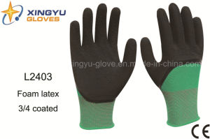 Polyester Shell Foam Latex 3/4 Coated Safety Work Glove (L2403) pictures & photos